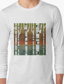 Birches with Blue and Orange Long Sleeve T-Shirt