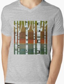 Birches with Blue and Orange Mens V-Neck T-Shirt