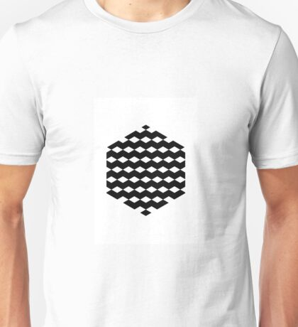 Black Hexagon with 3D Cubes Unisex T-Shirt