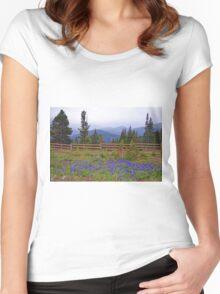 Mountain Meadow in Purple Women's Fitted Scoop T-Shirt