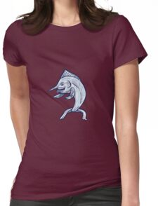 Blue Marlin Fish Isolated Cartoon Womens Fitted T-Shirt