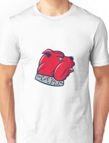 Red Bulldog Head Isolated Cartoon Unisex T-Shirt