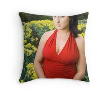 Georgia Mortimore - Daffodil farm Throw Pillow