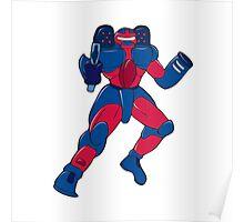 Mecha Robot Aiming Gun Isolated Poster