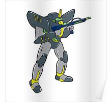 Mecha Robot Holding Ray Gun Isolated Poster