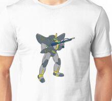Mecha Robot Holding Ray Gun Isolated Unisex T-Shirt