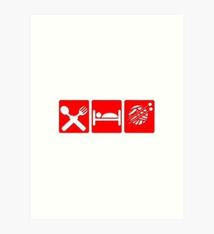 EAT SLEEP KNIT SIGN Art Print