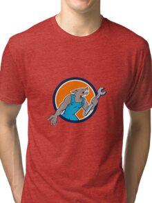 Wolf Mechanic Spanner Circle Cartoon Tri-blend T-Shirt