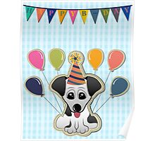 Cute Puppy Birthday Card Poster