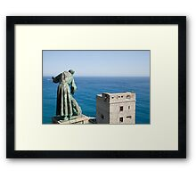 Statue of Saint Francis of Assisi petting a dog Framed Print