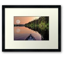 View from a Canoe of a Super Moon Framed Print