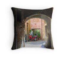 vespa - the Roman choice of transport Throw Pillow