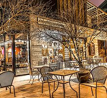 Bend Oregon Old Mill Coffee Shop in the Snowy Night by DianaBozart