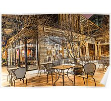 Bend Oregon Old Mill Coffee Shop in the Snowy Night Poster