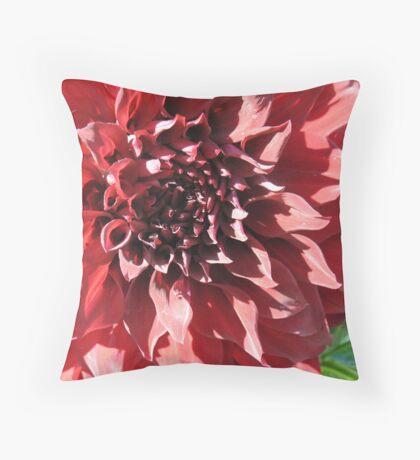 Raving Red Dahlia  Throw Pillow