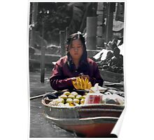 Woman at Floating Market Poster
