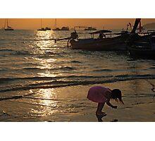 Curious Girl on Beach Photographic Print