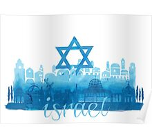 Israel cityscape - watercolor Poster