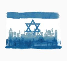 Israeli Flag & City skyline - watercolor by jay-p
