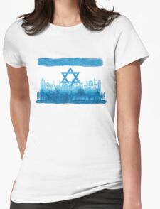 Israeli Flag & City skyline - watercolor Womens Fitted T-Shirt
