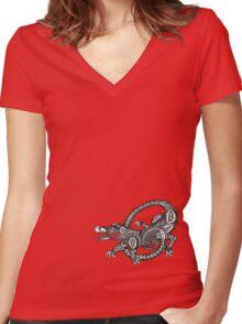 Dancing Alligator Tee Women's Fitted V-Neck T-Shirt
