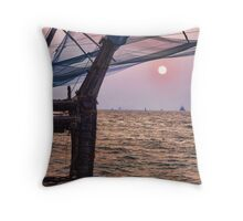 Fort Cochin, Kochi, India - Chinese Fishing Nets Throw Pillow