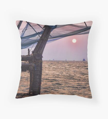 Fort Cochin, Kochi, India - Chinese Fishing Nets Throw Pillow