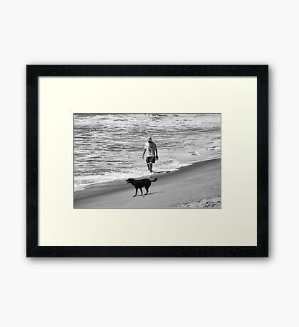 DOG DAY AT THE BEACH Framed Print