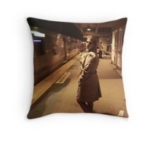 the raincoat and the station Throw Pillow