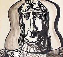 Ink Painting - Guitarist, 1990 by Igor Pozdnyakov