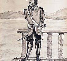 Ink Painting - a Navy officer, 1990 by Igor Pozdnyakov