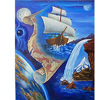 """Oil painting """"A Ship and a Map"""" 1998 Photographic Print"""