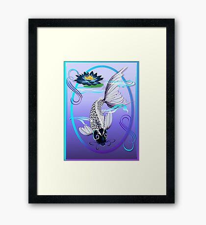 White Koi-Blue Lily Oval Framed Print