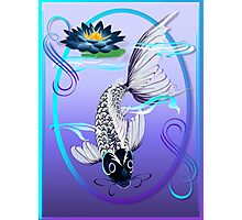 White Koi-Blue Lily Oval Photographic Print