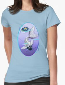 White Koi-Blue Lily Oval T-Shirt
