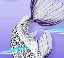 White Koi-Blue Lily Oval Sticker