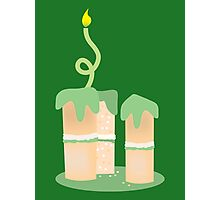 Green birthday cake with candle twirls Photographic Print