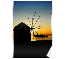 Sunset from a windmill at Mykonos Poster