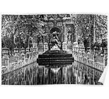 Medici Fountain in Luxembourg Garden in Black and White Poster