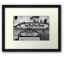 Paris Metro Sign in Black and White Framed Print
