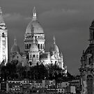 Sacre Coeur at dusk in Black and White by randyharris