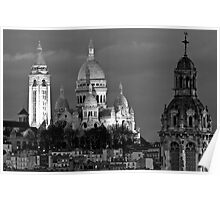 Sacre Coeur at dusk in Black and White Poster