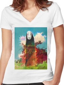 spirited away. no face Women's Fitted V-Neck T-Shirt