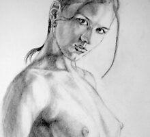 nude in pencil by Hidemi Tada