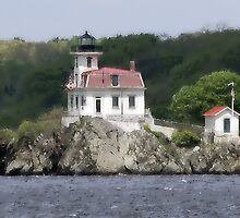 PONHAM ROCKS LIGHTHOUSE...EAST PROVIDENCE (RIVERSIDE), RI by Edward J. Laquale