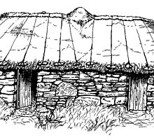 Restored Blackhouse, Scotland. by hyde66art
