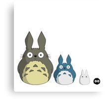 My cute version of Totoro and friends Canvas Print