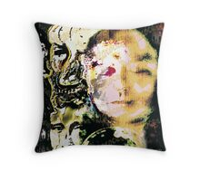 "Barcha's #1 watermark -- trio__mona, vincent & me ""barchaProcess"" Throw Pillow"