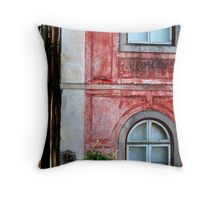 Red Building in Sintra, Portugal Throw Pillow
