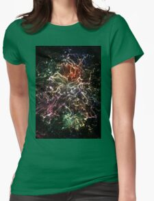 Neon Flame Rainbow Womens Fitted T-Shirt